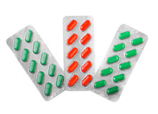Three blisters of pills Royalty Free Stock Image