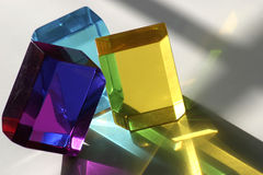 Three Blocks. Three colorful acrylic blocks back lit by the sun Stock Image