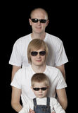 Three blonde males in sunglasses Stock Photography