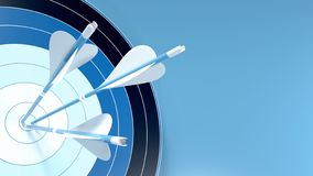 Free Three Blue Arrows Hit The Center Of An Archery Target, Isolated On Blue Background Stock Photo - 159937610