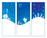 Three blue background - Christmas. Vector christmas backgrounds -- three snowy landscape vector illustration