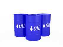 Three blue barrels with the oil Royalty Free Stock Image