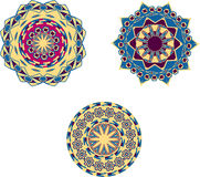 Three blue and beige circular ornament Royalty Free Stock Images