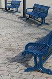 Three Blue Benches Royalty Free Stock Photography