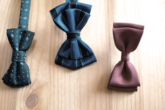 Three blue and brown color bow ties stock photography