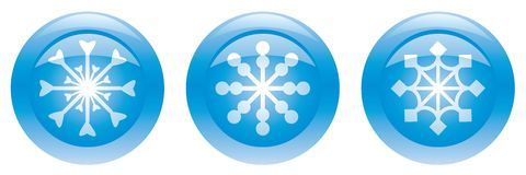 Three blue buttons with snowflakes. Vector illustration Stock Photo