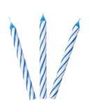 Three blue candles Stock Photo