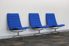 Three blue chair. Three business blue chair in office Royalty Free Stock Image