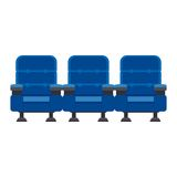 Three blue chairs. Auditorium and three blue chairs comfortable armchairs in the cinema. Drinks and popcorn, glasses for movie Flat vector cartoon Cinema seats Royalty Free Stock Images