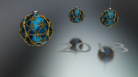 Three blue christmas ball enclosed with gold ornaments. Three blue christmas ball enclosed with gold ornaments hanging over grey reflective ground. White year royalty free illustration
