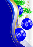 Three blue christmas balls Royalty Free Stock Photography