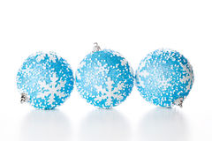 Three Blue Christmas Balls Royalty Free Stock Photo