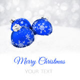 Three blue christmas balls Royalty Free Stock Images