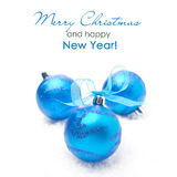Three blue Christmas balls,  on white background Royalty Free Stock Photos