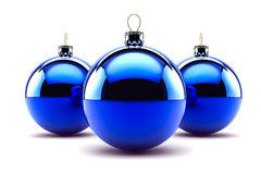 Three Blue Christmas Baubles Stock Image