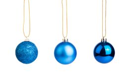 Three of blue christmas tree baubles Royalty Free Stock Photos