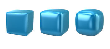 Three blue cubes Stock Photography