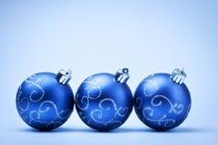 Three blue decoration balls Stock Photography
