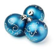Three blue decoration balls Royalty Free Stock Image