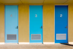 Three Blue Doors. Three doors of different shades of blue Royalty Free Stock Photography