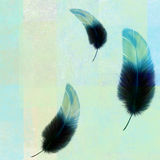 Three blue feathers on an abstract texture. Grunge abstract background with three flying feathers stock illustration