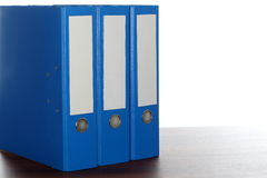 Three blue file folders Royalty Free Stock Images