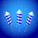 Three blue fireworks rocket. Three fireworks rocket on blue starry background, illustration Stock Image