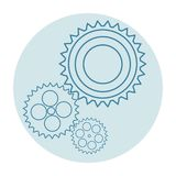 Three blue gears on a light blue background. White round frame stock photo