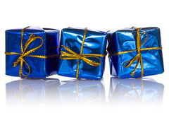 Three blue glossy  gift boxes Royalty Free Stock Images
