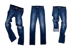 Three blue jeans stock images