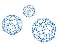 Three blue molecule vector illustration
