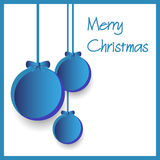 Three blue paper christmas decoration baubles hanging eps10 Royalty Free Stock Photography