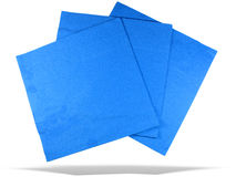 Three blue paper napkins with shadow isolated Stock Photography