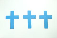 Three Blue Pastel Christian Crosses isoleted on white background Royalty Free Stock Photography