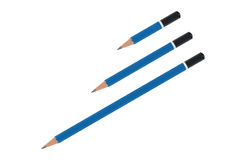 Three blue pencils Royalty Free Stock Photo
