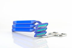 Three blue razors and scissors Stock Image