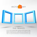 Three blue rectangular 3D frames Royalty Free Stock Image