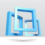Three blue rectangular 3D frames. For your presentation Royalty Free Stock Photo