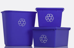 Three blue recycling bins Royalty Free Stock Images
