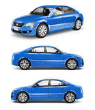 Three Blue Sedans in a Row Royalty Free Stock Photo