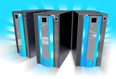 Three Blue Servers Stock Photography