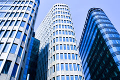Three blue skyscrapers. Three dark blue skyscrapers towers Royalty Free Stock Photo