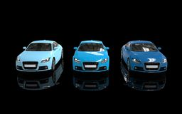 Three Blue Sport Cars Royalty Free Stock Photos