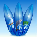 Three blue surfboard Stock Images
