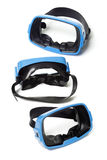 Three blue swimming goggles Royalty Free Stock Image