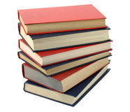 Three  blue and three red  books. Three  blue and three red old retro  books isolated on white Stock Photos