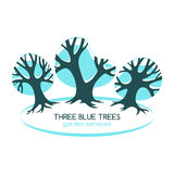 Three blue trees isolated on white.Logo for gardening services. Stock Photo