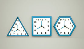 Three blue watches. Icon concept Royalty Free Stock Photos