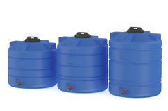 Three blue water tanks or water barrels. Three blue water tanks  or water barrels  isolated on white background Royalty Free Stock Photo