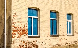 Three blue windows in a row stock image